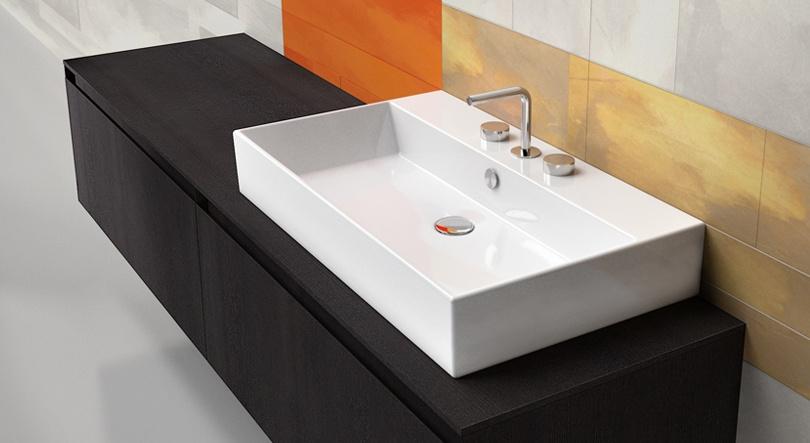 Premium 80 Lavabo predispuesto para grifería monomando, de tres orificios o de pared. Instalación suspendida, sobre encimera o con su mueble.