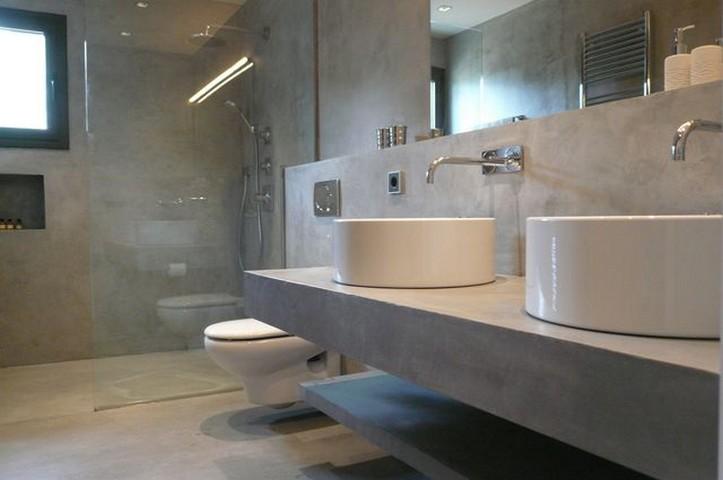 Cemento pulido madrid pavimento para suelo ba o - Pared cemento pulido ...