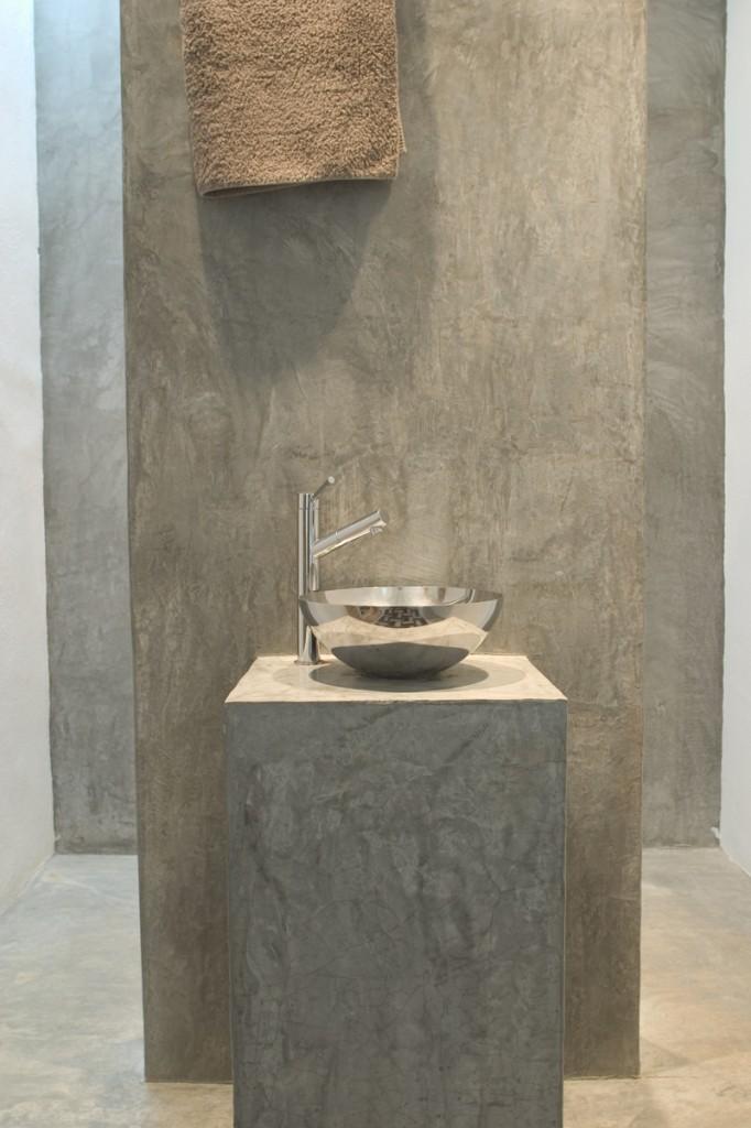 Cemento pulido madrid pavimento para ba os paredes for Pared de bano de concreto encerado